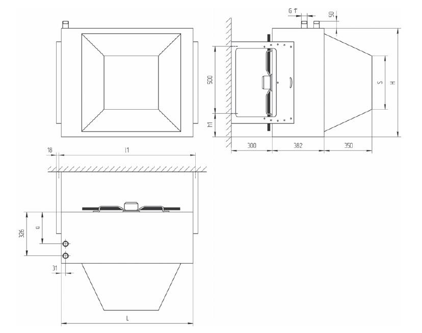 потолочное исполнение АВО ВЕЗА масса и габариты агрегатов