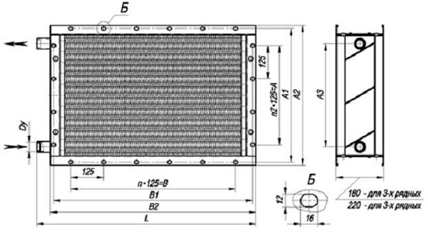 габаритные размеры водяного калорифера КСК 3-1