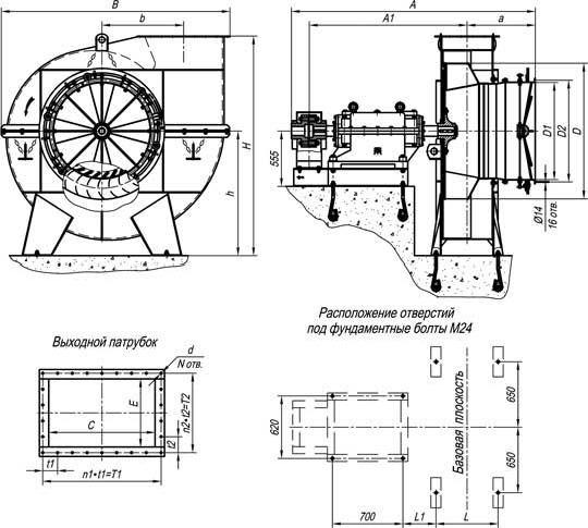 габариты вентиляторов дутьевых ВД и Д 13,5 и 15,5