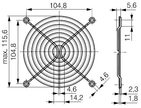 защитная решетка 120х120 мм