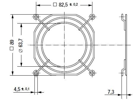 LZ23-6 защитная решетка 92х92 мм ebmpapst чертеж