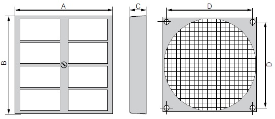 FF80 ebmpapst фильтр чертеж