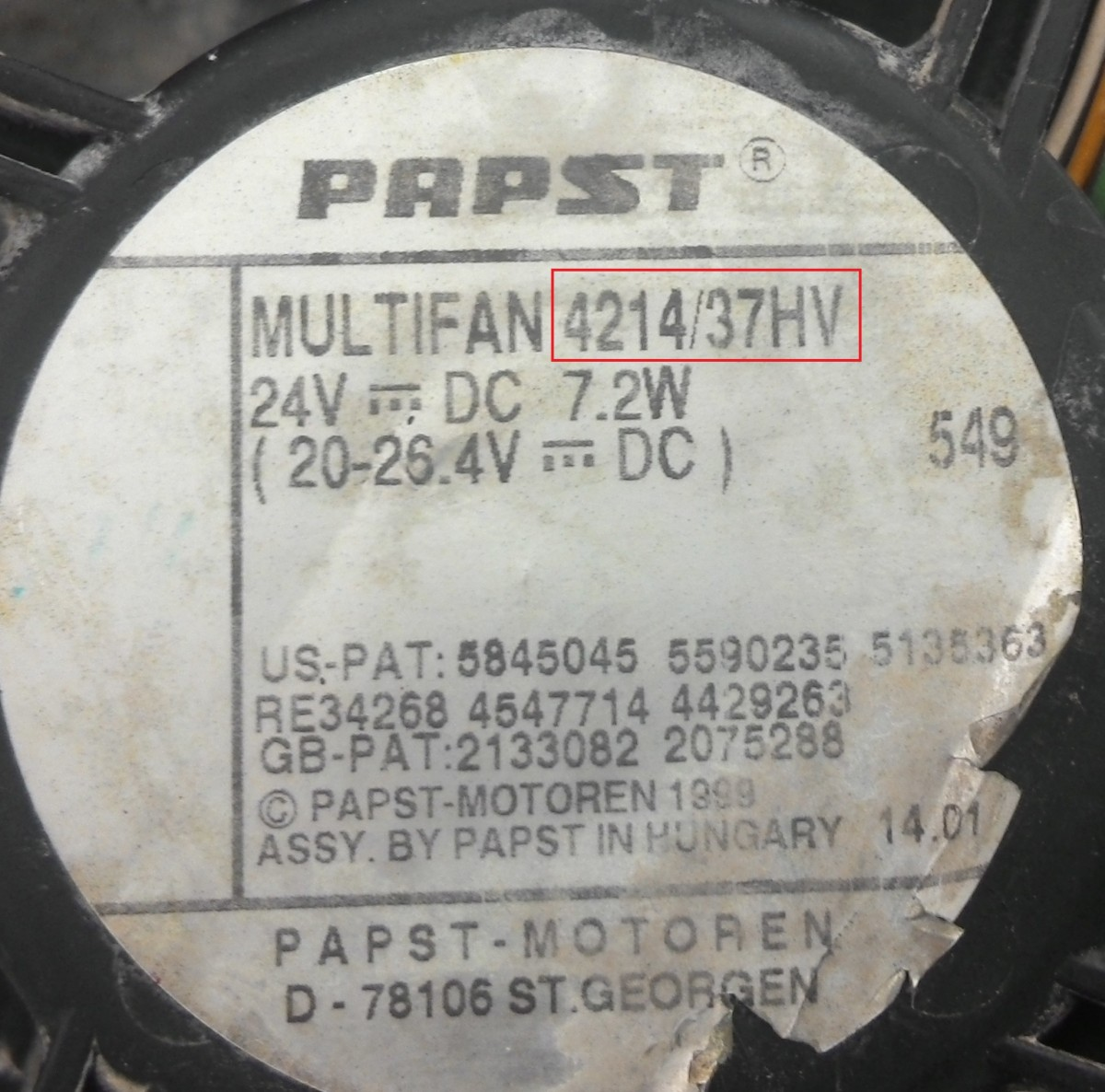 артикул вентилятора ebmpapst компактный