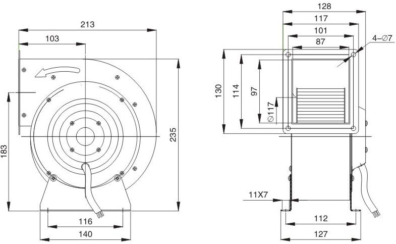 промышленный вентилятор улитка ventstal 900 чертеж