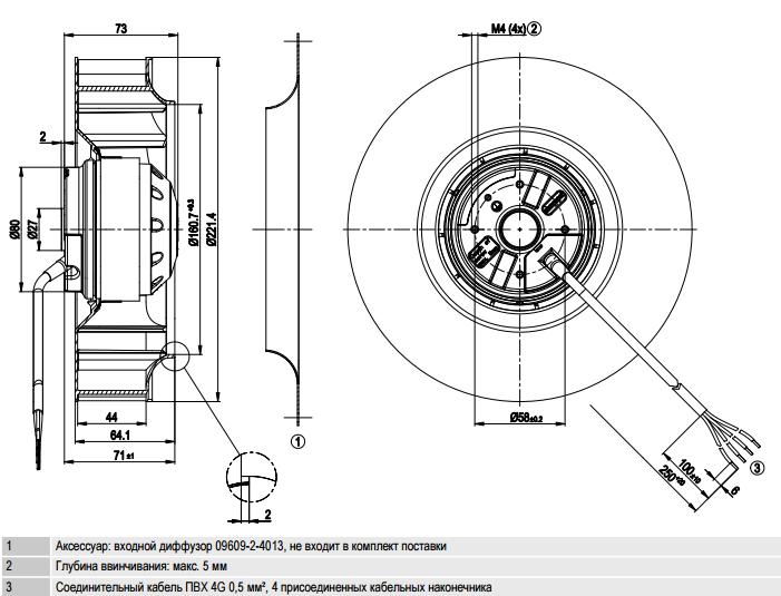 R2E220-AB06-84 ebm-papst чертеж