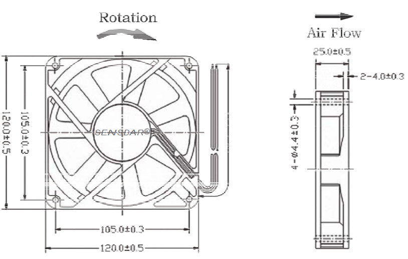 компактный 120х120х25 мм 220В sensdar чертеж