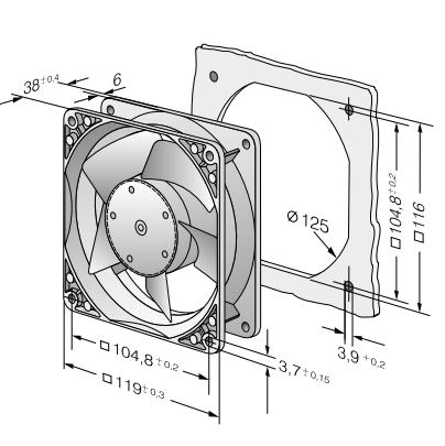 4188NGX ebmpapst вентилятор чертеж