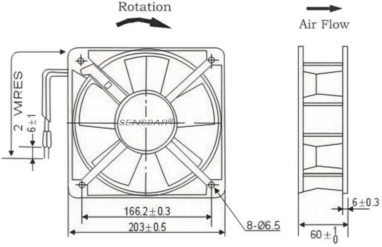 вентилятор 200х200х60 380В sensdar чертеж