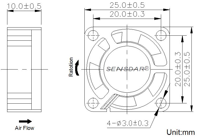 вентилятор 25 25 10 мм 5В DC sensdar чертеж