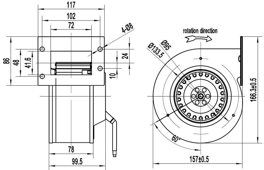 вентилятор улитка ventstal 200 чертеж