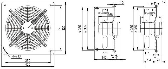 осевой вентилятор YWF4E-350B настеная панель чертеж