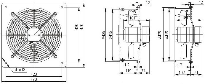 осевой вентилятор YWF4E-400B с настенной панелью чертеж
