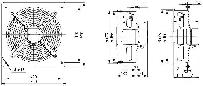 осевой вентилятор YWF 4D 450B настенная панель