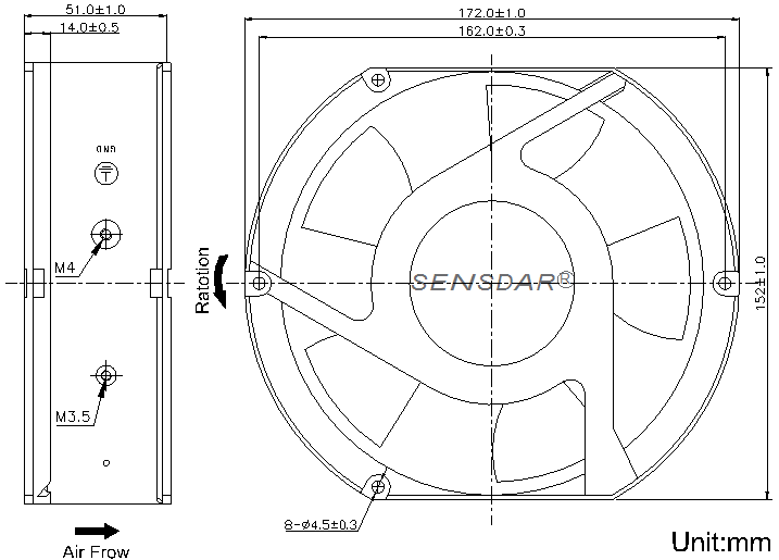 SD1751H4B-5 Sensdar вентилятор чертеж