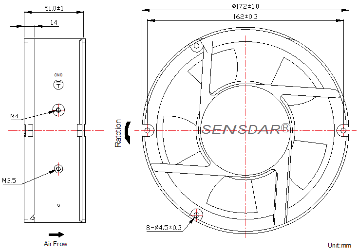 SD1725M1B-5 Sensdar вентилятор чертеж