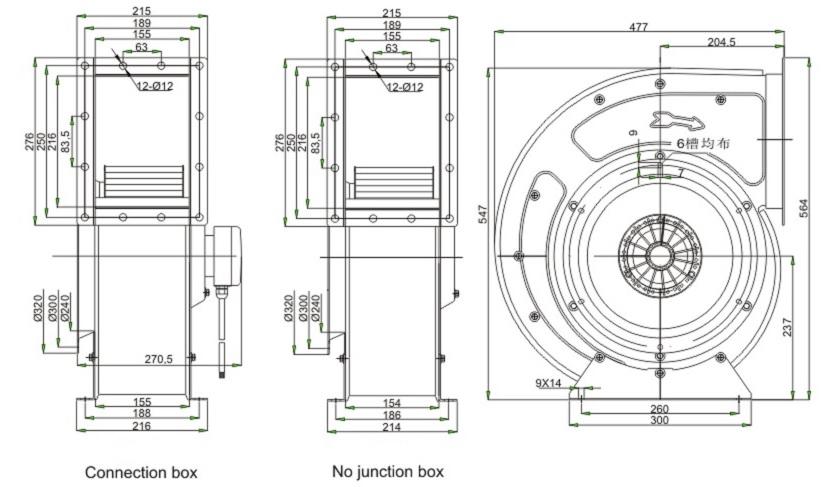 вентилятор улитка Ventstal 3200 габаритные размеры