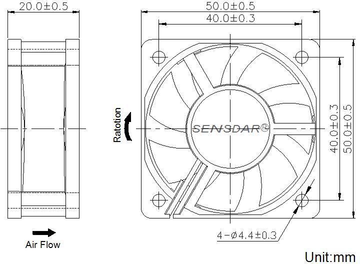 чертеж вентилятора 50х50х20 мм 12В постоянного тока