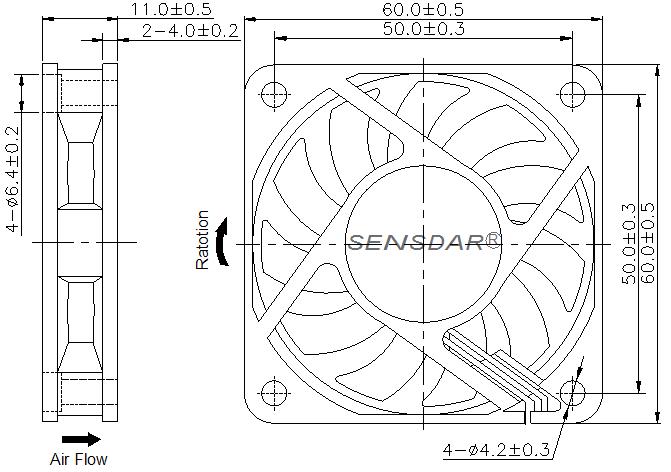 чертеж вентилятора 60х60х10 мм 12В постоянного тока
