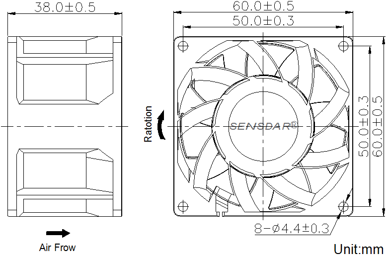 SG6038D2B, вентилятор 24В DC, 60х60х38 мм, подшипник качения, sensdar