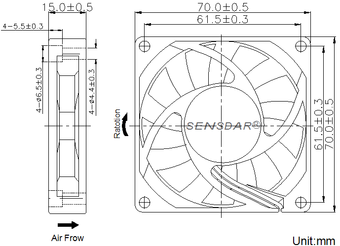 SD7015H1S, вентилятор 12В DC, 70х70х15 мм, подшипник скольжения, sensdar