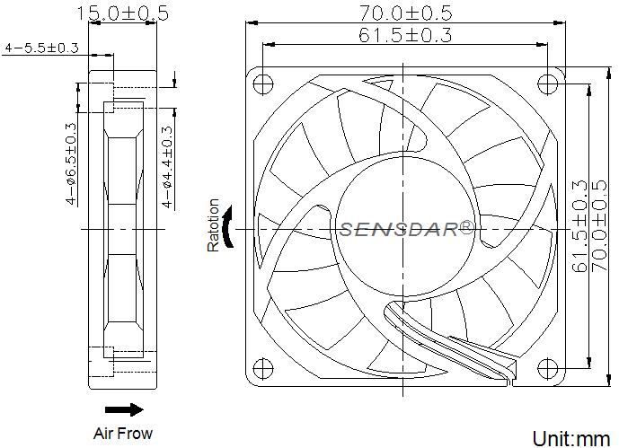 SD7015L1S, вентилятор 12В DC, 70х70х15 мм, подшипник скольжения, sensdar