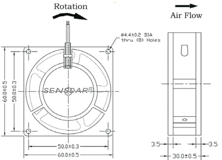 SA6030M1B, вентилятор 110В, 60х60х30 мм, подшипник качения, sensdar