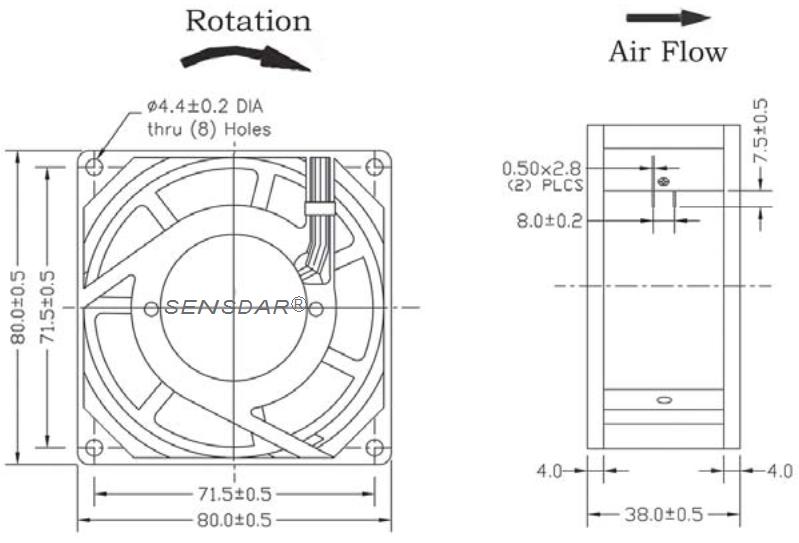 SA8038M2S, вентилятор 220В, 80х80х38 мм, подшипник скольжения, sensdar