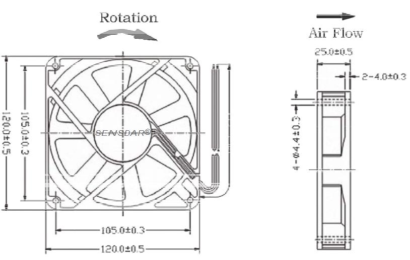SA1225M2B, вентилятор 220В, 120х120х25 мм, подшипник качения, sensdar
