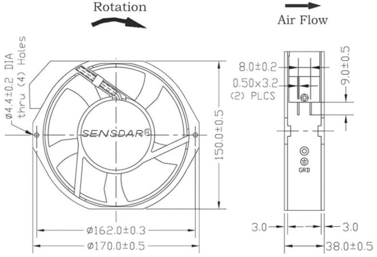 SA1738M2B, вентилятор 220В, 172х150х38, шарикоподшипник, sensdar (Китай)
