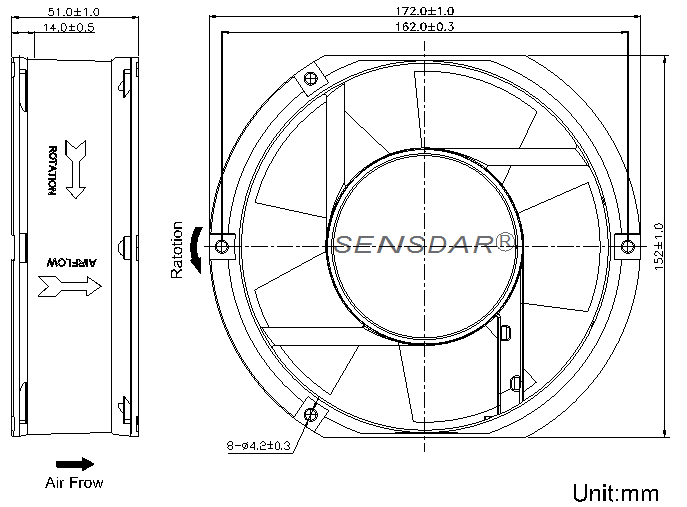 SA1751M1S, вентилятор 110В, 172х150х51 мм, подшипник скольжения, sensdar