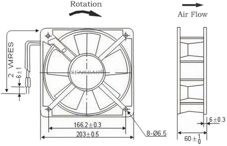 SA2060M2B, вентилятор 220В, 200х200х60, шарикоподшипник, sensdar