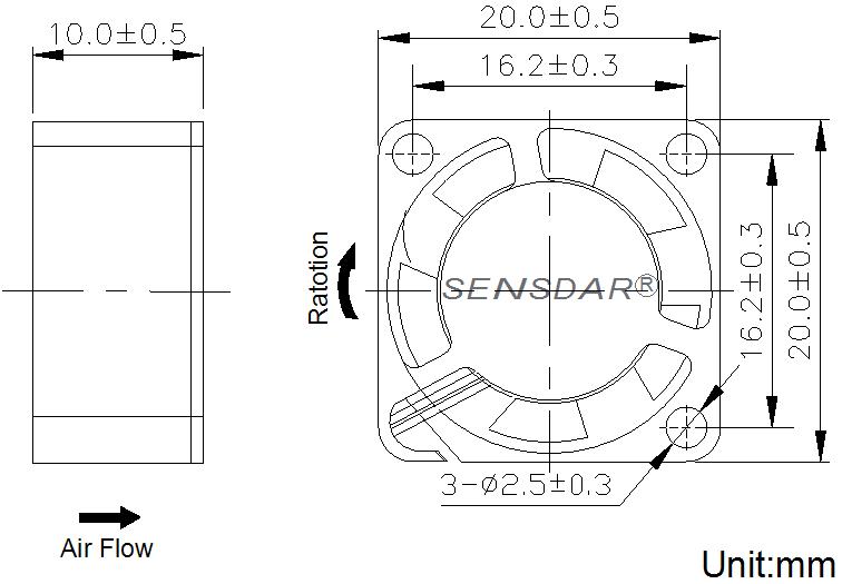 SD2010L1S, вентилятор 12В DC, 20х20х10 мм, подшипник скольжения, sensdar