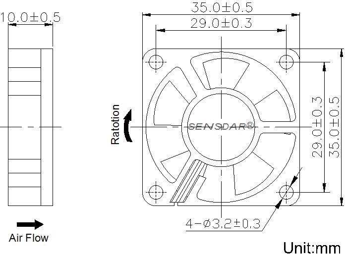 SD3510M1S, вентилятор 12В DC, 35х35х10 мм, подшипник скольжения, sensdar
