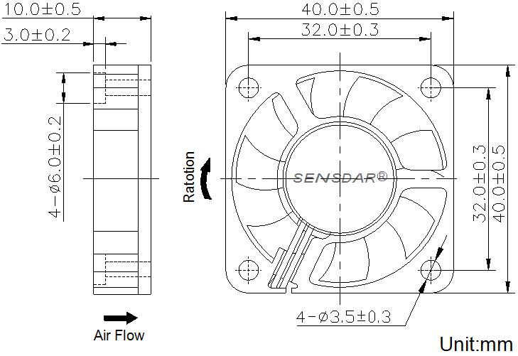 SD4010M1S, вентилятор 12В DC, 40х40х10 мм, подшипник скольжения, sensdar