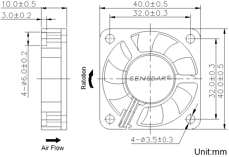 SD4010L2S, вентилятор 24В DC, 40х40х10 мм, подшипник скольжения, sensdar