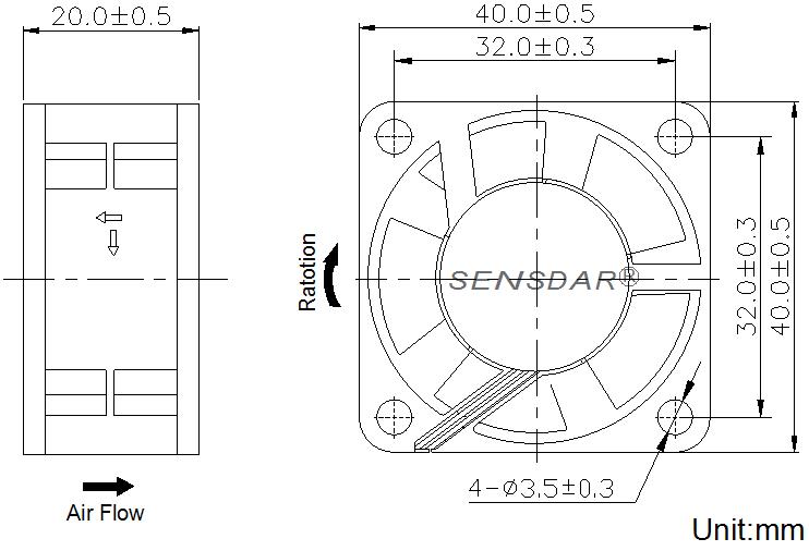 SD4020M2S, вентилятор 24В DC, 40х40х20 мм, подшипник скольжения, sensdar
