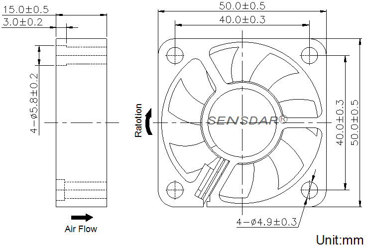 SD5015L5B, вентилятор 5В DC, 50х50х15 мм, подшипник качения, sensdar