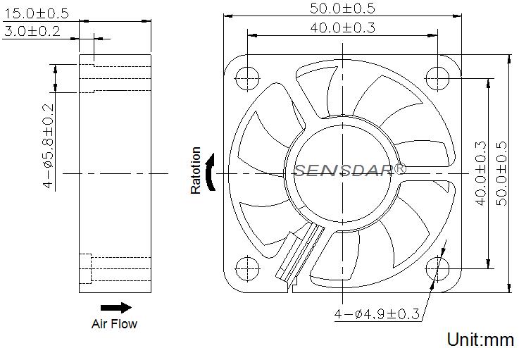 SD5015L5S, вентилятор 5В DC, 50х50х15 мм, подшипник скольжения, sensdar