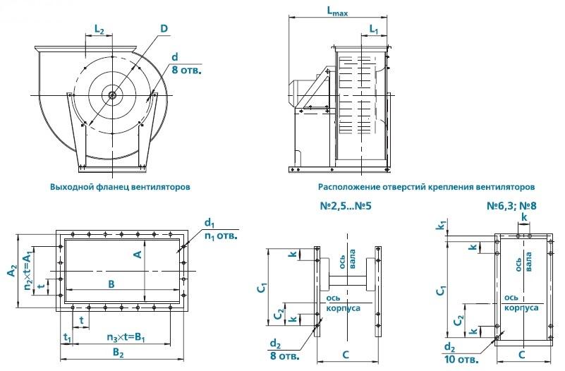 вентилятор ВЕЗА ВРАВ чертеж исполнение 1