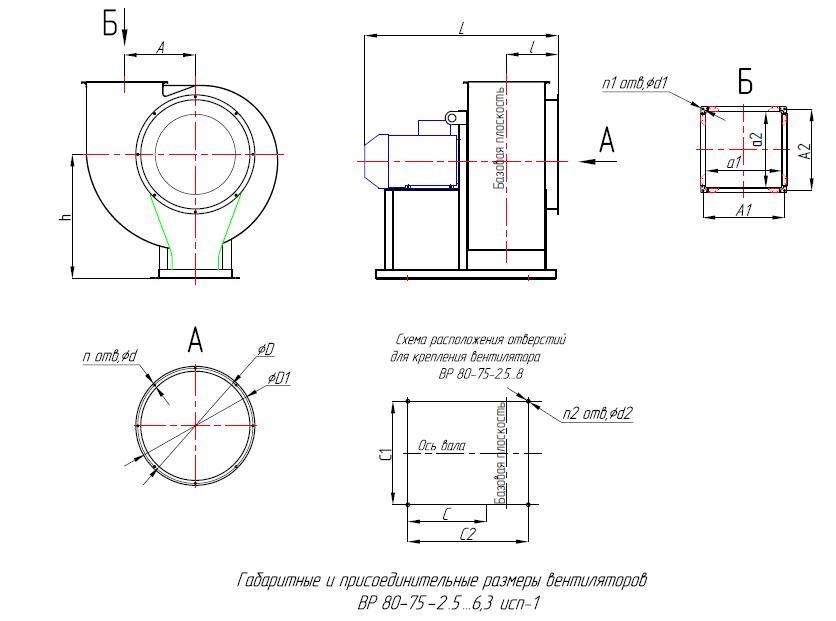 вентилятор ВР 80-75 №3,15 габариты