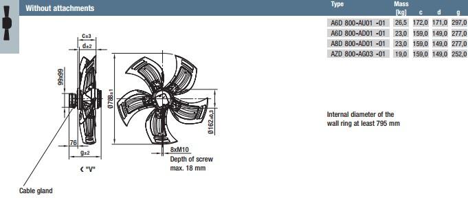 A6D800-AU01-01 габариты