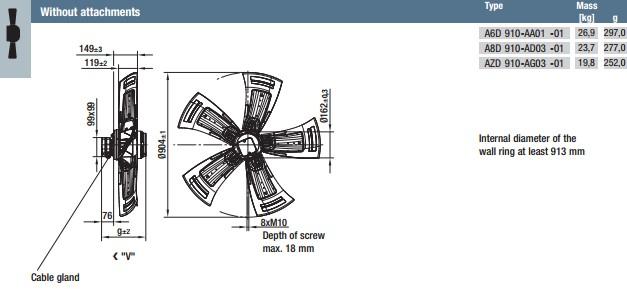 AZD910-AG03-01 габариты