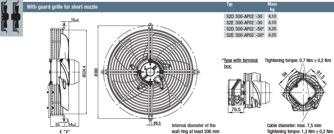 S2E300-AP02-50 габаритные размеры