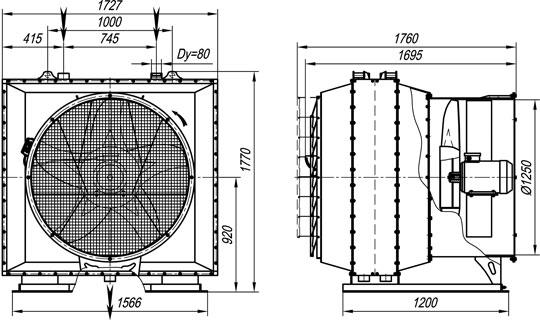 Отопительный агрегат АО2-50П на базе двух калориферов КП3-12