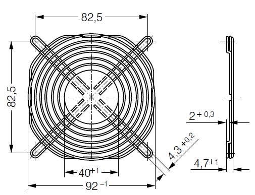LZ32-1 ebmpapst защитная решетка чертеж