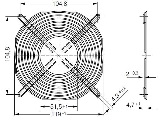 LZ30-4 ebmpapst защитная решетка 120 чертеж