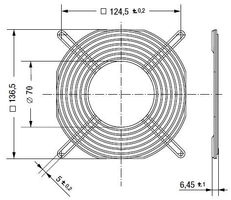 LZ53 защитная решетка 140 мм ebmpapst чертеж