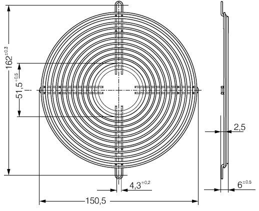 LZ36 защитная решетка ebmpapst 150 х 172 мм чертеж