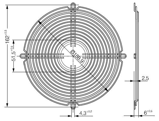 LZ37 защитная решетка ebmpapst 172х51 чертеж