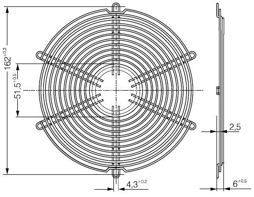 LZ38 защитная решетка ebmpapst 172х51 мм чертеж